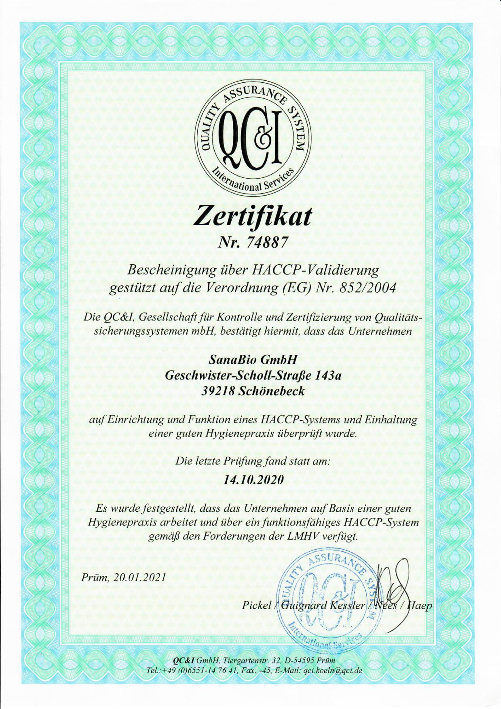 SanaBio ist HACCP zertifiziert und folgt Standards der Lebensmittelhygiene